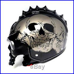 1STORM DOT Motorcycle Bike Open Face Helmet Novelty Half 3D Skull Glossy Gray