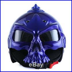 1STorm DOT Motorcycle Bike Sun Dual Visor Open Face Helmet 3D Skull Glossy Blue