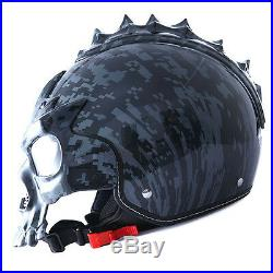 1STorm DOT Motorcycle Bike Sun Dual Visor Open Face Helmet 3D Skull Gray Camo