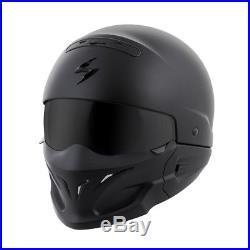 3 In 1 Versatile Scorpion Covert Solid Matte Black 3/4 Open Face Road Helmet 3x