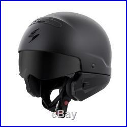 3 In 1 Versatile Scorpion Covert Solid Matte Black 3/4 Open Face Road Helmet Sm