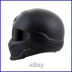 3 In 1 Versatile Scorpion Covert Solid Matte Black 3/4 Open Face Road Helmet Xs