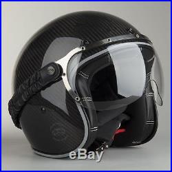 Airoh Jet Style Garage Carbon Gloss Black Open Face Retro Helmet Motorcycle