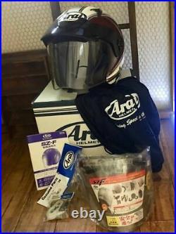 Arai Genuine Oem Sz-f Retro Graphic Black Open Face Helmet S Size With Shield