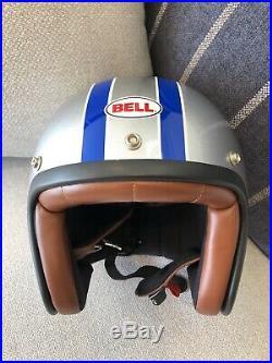 BELL Open Face Jet Helmet Steve McQueen Motorbike Silver Blue Medium