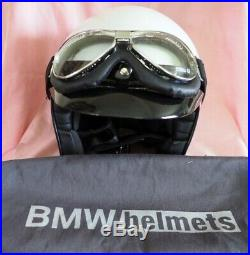 BMW Motorrad Bowler Open Face Crash Helmet White visor, BMW goggles, soft bag