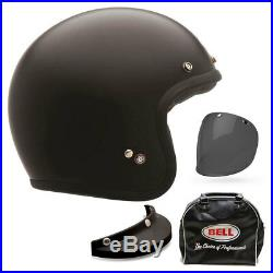 Bell Custom 500 Deluxe Matt Black Open Face Motorcycle Motorbike Helmet