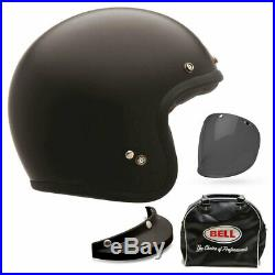 Bell Custom 500 Deluxe Matt Black Solid Open Face Motorbike Helmet All Sizes