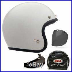 Bell Custom 500 Deluxe Solid Vintage White Open Face Motorbike Helmet All Sizes