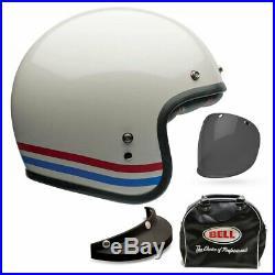 Bell Custom 500 Deluxe Stripes Pearl White Open Face Motorbike Helmet All Sizes