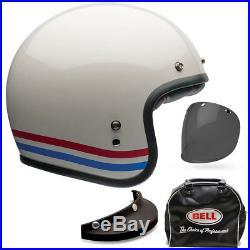 Bell Custom 500 Deluxe Stripes Pearl White Open Face Motorcycle Helmet All Sizes