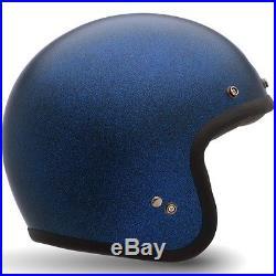 Bell Custom 500 Matt Blue Flake Retro Cafe Racer Open Face Motorcycle Helmet