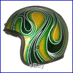 Bell Custom 500 Open Face Motorcycle Helmet Vintage Chem Candy Mean Green + BAG