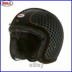 Bell Custom 500 RSD Check It Open Face Motorbike Helmet + Free Bag & Visor, Peak
