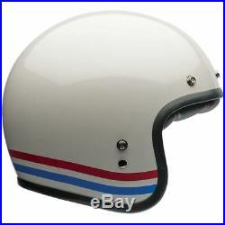 Bell Custom 500 Stripes Classic Retro Open Face Motorcycle Helmet Pearl White