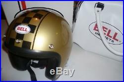 Bell R/T Gold Flake Check Jet Custom Helmet size XS BNIB Bell Open Face Bobber