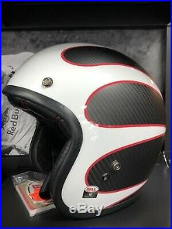Bell custom 500 Ace cafe Carbon Open Face Motorcycle Helmet Size Medium