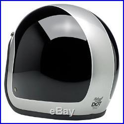 Biltwell Bonanza Helmet Tracker Gloss Black/Silver Motorcycle Open Face Helmet L