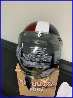 Biltwell Bonanza Open Face Helmet Limited Edition Xl With Mirror Visor Flip Up