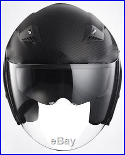 Black Carbon Fiber RK-6 Sun Visor Open Face Motorcycle Helmet DOT Biker S M L XL