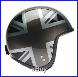 CLEARANCE Davida Jet Open Face Motorcycle Helmet Silver Union Jack Sides 2XL