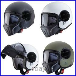 Caberg Ghost Plain Open Face Motorcycle Helmet Jet With Goggles Black White