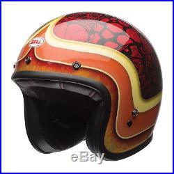 Custom 500 SE Hart Luck Open Face Motorbike Vintage Style Crash Helmet Red/Blk S