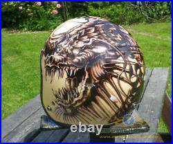 Custom painted low profile open face helmet Dragon and Koi tattoo style