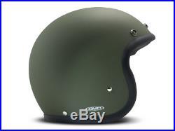 DMD Vintage Low Profile Open Face Motorcycle Helmet Matt Green