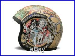 DMD Vintage Low Profile Open Face Motorcycle Helmet Woodstock