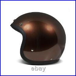 DMD Vintage Low Profile Open Face Motorcycle Motorbike Helmet Brown