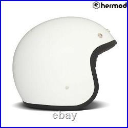 DMD Vintage Low Profile Open Face Motorcycle Motorbike Helmet White