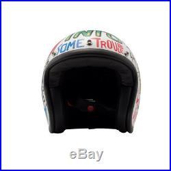 DMD Vintage Open Face Motorcycle Helmet M Words Retro Classic Motorbike Cruiser