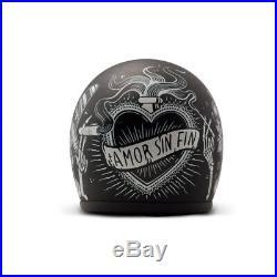 DMD Vintage Open Face Motorcycle Helmet XL Sin Fin Retro Biker Classic Black Lid