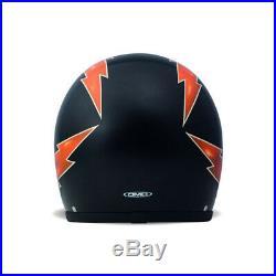 DMD Vintage Thunder Open Face Motorcycle Helmet L Black Orange Motorbike Scooter