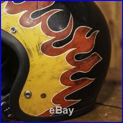 DOT Motorcycle Open Face Helmet BLACK SML 3/4 Vintage Bell Super Magnum