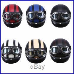 DOT Motorcycle Scooter Open Face Half Helmet Visor Pilot Goggles & Scarf 54-60cm