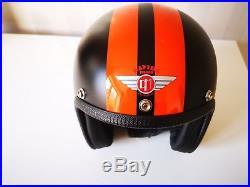 Davida 92 Retro Custom Open Face Motorcycle Helmet Black Orange Harley Small