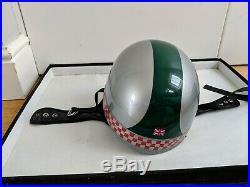 Davida Classic Open Faced Motorcycle Crash Helmet racing green silver size small