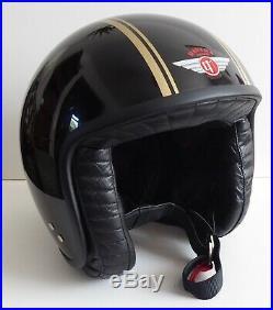 Davida Jet Black & Gold Open Face Motorbike Motorcycle Helmet Size Large 60
