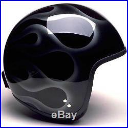 Davida Jet Black / Silver Flames Open Face Motorcycle Helmet Complex All Sizes