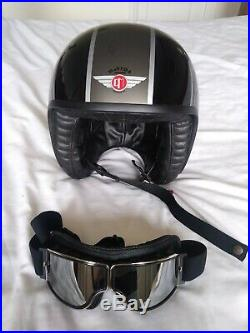 Davida Jet Open Face Motorcycle Helmet Silver Union Jack Medium 58 leather
