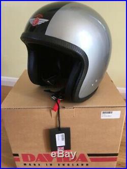 Davida Ninety 2 Silver and Black Gloss Open Face Motorcycle Helmet Size L