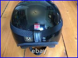 Davida Open Face Jet Motorbike Helmet Gloss Black XXL 64 with Black Goggles Mint