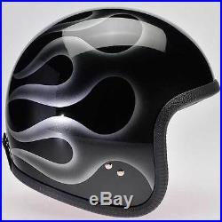 Davida Speedster Black / Silver Flames Open Face Motorcycle Helmet Complex