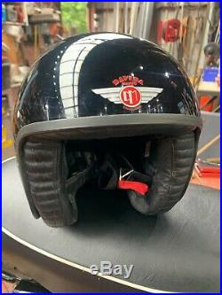 Davida jet open face motorcycle crash helmet black gloss size Large 60
