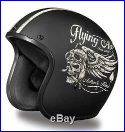 Daytona Low Profile Helmet Flying Skull Custom Open Face Bobber Chopper Biker