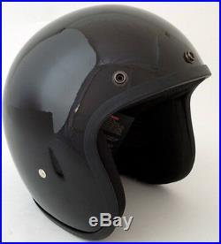 Daytona Low Profile Helmet Gloss Black Bobber Chopper Custom Open Face Biker
