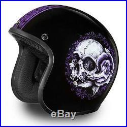 Daytona Low Profile Helmet Gloss Purple Skull Custom Bobber open face biker