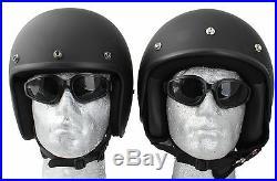 Daytona Low Profile Helmet Matt Black Orange Stripe Bobber Chopper open face